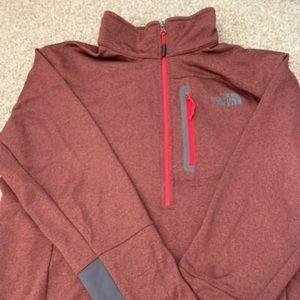 Men's red/maroon North Face half zip